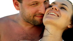 Stock Video Footage of Happy young couple in love kissing