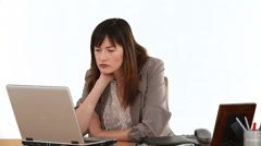 Businesswoman thinking about a problem she has Stock Footage