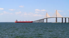 Freighter Skyway Bridge - stock footage