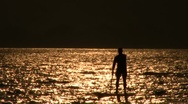Stock Video Footage of Stand up paddle silhouette