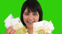 Asian woman proud of what she earned Stock Footage