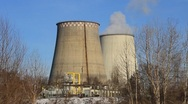 Heat electropower station. Water-cooling towers Stock Footage