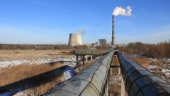 Heat electropower station. Main pipeline. Can be used for timelapse Stock Footage