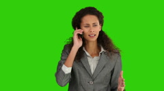 American lady having a phone call and it's making her nervous Stock Footage