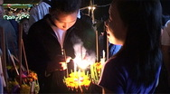 Candles for Bun Nam (water festival) Stock Footage