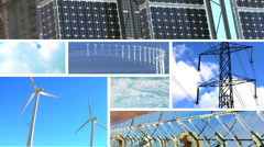 Montage of Wind & Solar Power Production Stock Footage