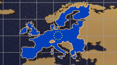 European Union map and flag to folding and spinning globe - stock footage