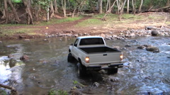 4X4 Toyota Stuck In River Stock Footage