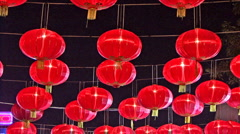 Chinese New Year Lanterns At Night Stock Footage