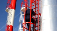 Stock Video Footage of Worker goes down from the Silo