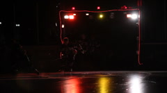 Ice hockey players entering the arena - stock footage