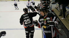 Celebrating a goal in ice hockey Stock Footage