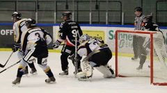 Scoring a goal in an ice hockey game Stock Footage