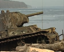 Sunken tank KV-1 was pulled from the river Stock Footage