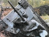 T-34 tank taken out of the swamp Stock Footage