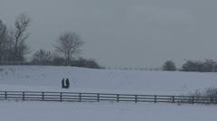 Women walk snow field 398 Stock Footage