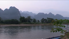 Nam Xong river, Karst hill landscape  Stock Footage
