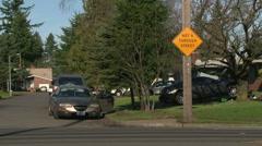 Not through street traffic detour signs Stock Footage