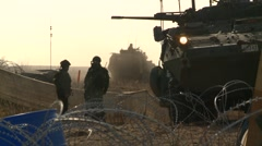 Military, LAV3 armored fighting vehicle arriving Stock Footage