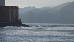 SF Bay Fort Point Surfer MVI 3963 Stock Footage