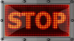 Stop announcement on the LED display Stock Footage