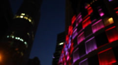 Coloured Lights Display On Building (Blur) - stock footage