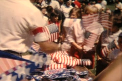 4th of July, 1962, handing out flags - stock footage
