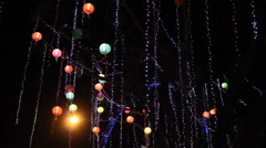 Hanging Chinese Lanterns and Lights - stock footage