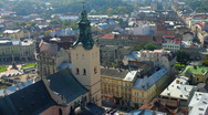 Aerial view over the roof of Lviv, Ukraine (HD) Stock Footage