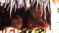 Khmu children in house Stock Footage