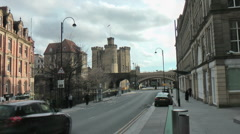 St Nicholas Street with Castle in background Stock Footage