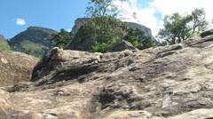 Rock with Table Mountain Stock Footage