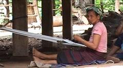 Khmu woman weaving Stock Footage