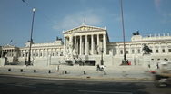 Stock Video Footage of 0030 Austrian Parliament Exterior