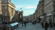 Stock Video Footage of Grey Street in the city centre of Newcastle, busy street with crowds