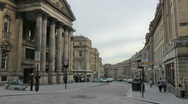 Stock Video Footage of Elegant historic Grey Street Newcastle city centre zoon to Theatre Royal