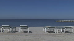 No tourists at emtpy beach Stock Footage