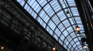 Stock Video Footage of Pan down from glass roof Victorian elegance of Central Arcade 1902