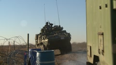 Military, LAV3 armored fighting vehicle pulls away Stock Footage