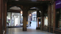 Pan up from entrance of Victorian elegance of Central Arcade, built in 1902 Stock Footage