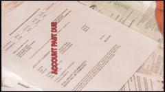 Man Stressing Over Unpaid Bills Stock Footage