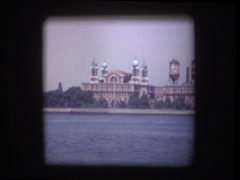 Ellis Island from Circle Line boat - stock footage