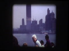 World Trade Center under construction 1970 from Circle Line ferry Stock Footage