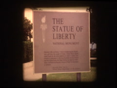 Entry sign at Statue of Liberty Stock Footage