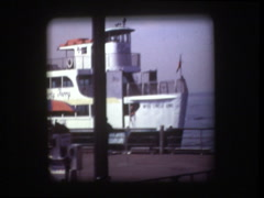 New York Circle Line docks at Satue of Liberty Stock Footage