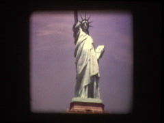 Low Angel zoom in of Statue of Liberty 1970 Stock Footage