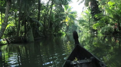 Traditional canoeing by local people on the backwaters Kerala, Indi - stock footage