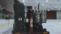 Zamboni Ice Machine Cleaning The Ice Surface In A Ice Hockey Arena Canada Stock Footage