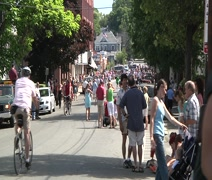 Time Lapse People On Small Town Street Stock Footage