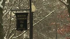 Boston Common Sign Stock Footage